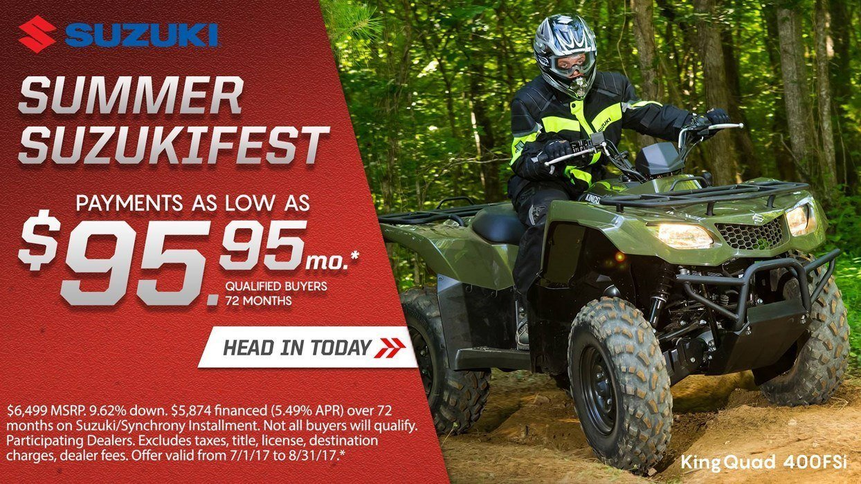 Suzuki Suzukifest ATV Financing as Low as 0% APR for 36 Months or Customer Cash Offer